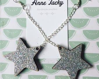Large silver holographic glitter STAR laser cut dangle earrings tacky festival wear kitsch retro style 5cm stars