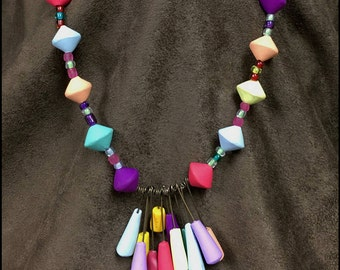 Funky, Polymer Clay, Necklace, Multicolor, Handmade Beads, Clay Tassel Pendant, Colorful Beads, Fun Gift for Her, Playful, Rainbow Colors,
