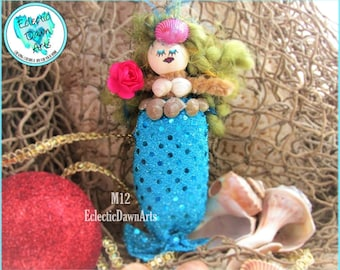 Mermaid Ornament with Rose and Shells, MO12