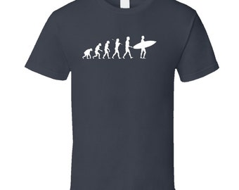 Surf Evolution Of Surfing With Surfboard T Shirt