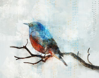 Blue Bird 01 : Giclee Fine Art Print 13X19