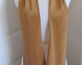 """Lovely Solid Brown Skinny Silk  Scarf - 6"""" x 64"""" Long"""