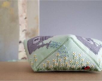 Garden Biscornu cross stitch - pattern only
