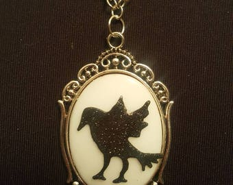 Crow raven glittery porcelain cameo necklace