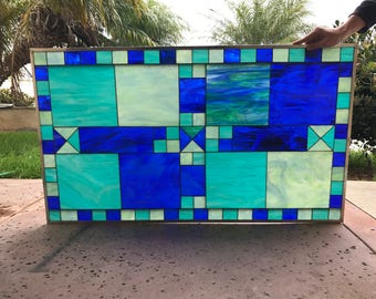 """Vibrant Blues!!   The """" Porterville """"  Stained Glass Window insert Panel (We do custom!  Please email me for a quick quote)"""