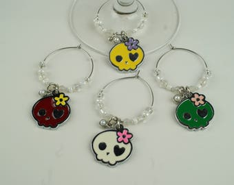 Skull Wine Charms-4pc