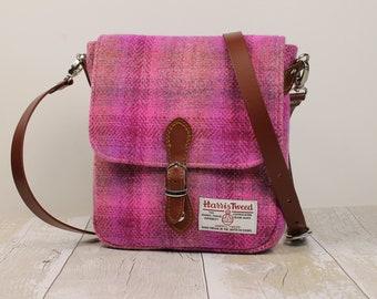 Satchel Harris Tweed Cross Body Bag Messenger Bag Womens Satchel Tweed Handbag Shoulder Pink Bag Leather Buckle Bag