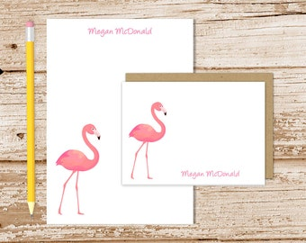 personalized flamingo stationery set . flamingo notepad + note card set . tropical bird notecards note pad stationary set . summer gift set