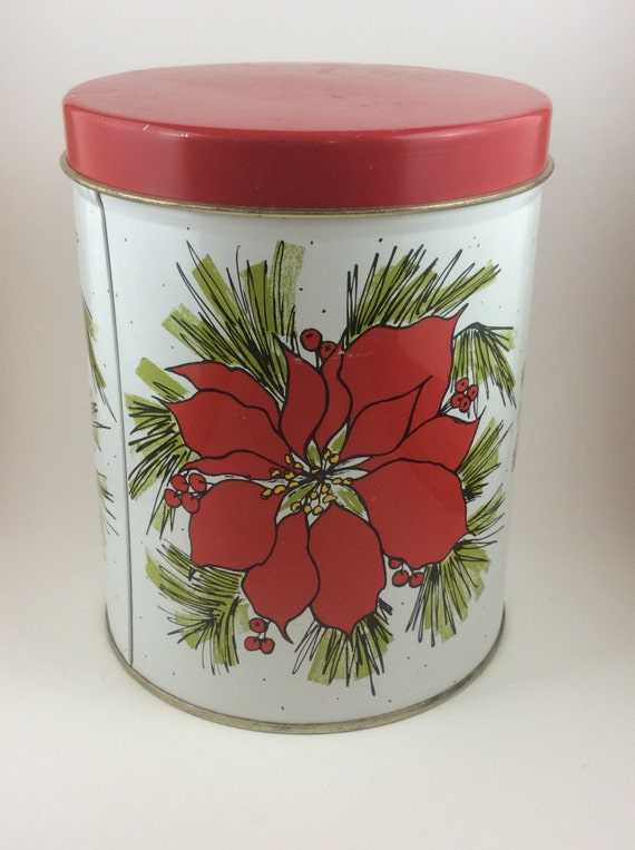 Vintage Poinsettia tin, Christmas tin, JL Clark Christmas poinsettia tin, collectible tin, Christmas collectibles, Christmas flower canister