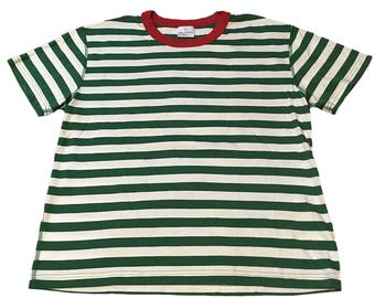 Vintage Green and White Striped T-Shirt
