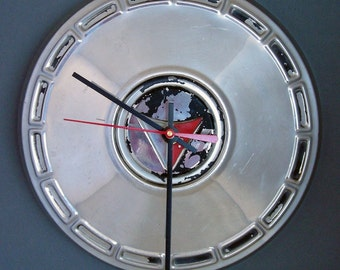 1964 1965 Plymouth Valiant Barracuda Hubcap Clock - Recycled Classic Car Wall Clock - Mopar