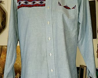 American Indian Style Applique Shirt L.L.Bean 15x32 Buffalo