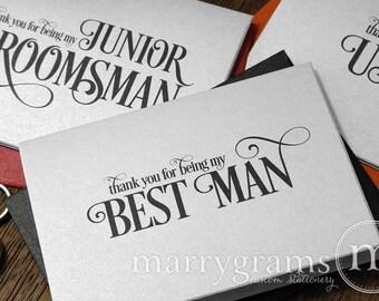Bridesmaid, Groomsman Thank You Wedding Party Cards - Bridesmaid Card, Matron of Honor, Flower Girl, Usher Thank You Notes (Set of 6) CS06