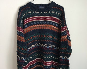 Striped Navy Mustard Burgundy Sweater
