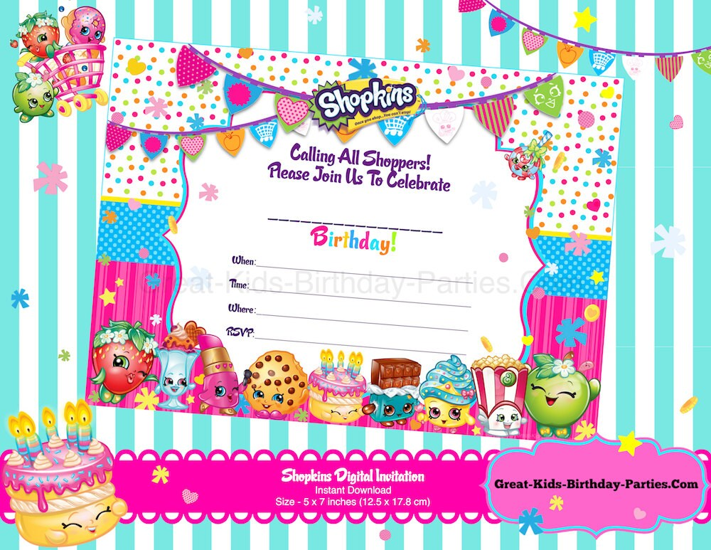 Shopkins Blank Invitations