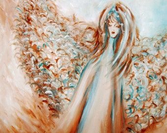 Large Guardian Angel Painting, Original Acrylic Painting on Canvas, Guardian Angel,Angel Art, Wall Art. Wall Decor, Gift for Her