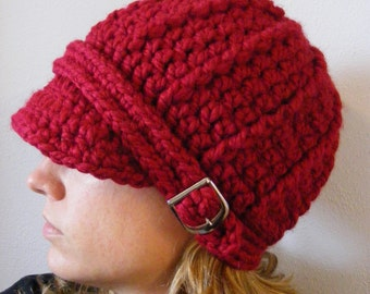 CLEARANCE Womens Hat Cranberry Red Hat Womens Beanie Red Beanie Womens Cap Red Cap Silver Buckle Beanie Trendy Winter Hat Crochet Beanie