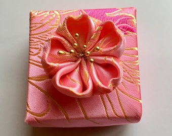 Pink and Gold Satin Fabric Origami Gift Box with Kanzashi Flower,  Small Square Origami Box
