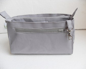 Purse organizer insert / Bag organizer /Handbag organizer in Cement/light gray fabric