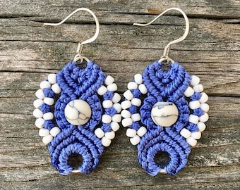 SALE Micro-Macrame Earrings - Blue and White