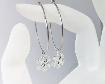 Snowflake Hoop Earrings, .925 Sterling Silver, Diamond Cut Snowflake Charms, Large Hoops, Snowflakes and Icicles
