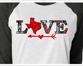 Love Texas - 3/4 Raglan - Ladies tee