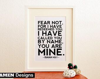 Isaiah 43:1. Fear Not. 8x10. PDF. DIY Printable Christian Poster. Bible Verse.