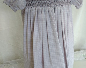 Hand Smocked Dress, size 3-4 years, mauve, gray, white #724