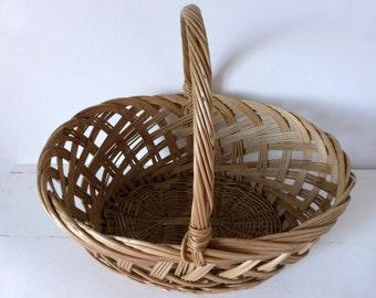 Vintage French Willow Market Basket