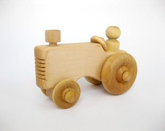 Wooden Toy Farm Tractor, natural wood toy