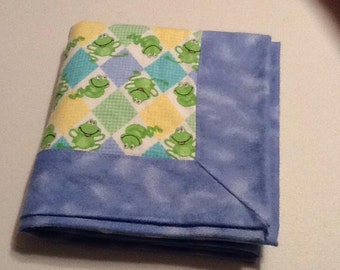 Baby/Receiving Blanket, Blue, Frogs
