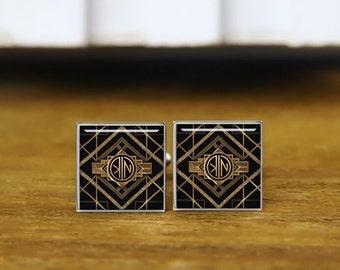 1920s Style Cufflinks, custom initial cufflinks, custom 2 letter. round or square cufflinks & tie clip, personalized wedding cufflinks