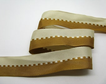 3 meters of brass woven striped Tan and beige-ref 35 Ribbon