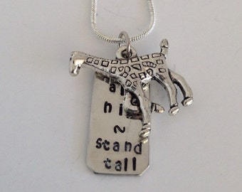 Aim High Stand Tall Giraffe Hand Stamped Necklace