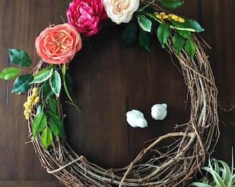 Vibrant Wreath, Front Door Wreath, Colorful wreath, Spring decor, spring colors, wreath, front door decor, spring