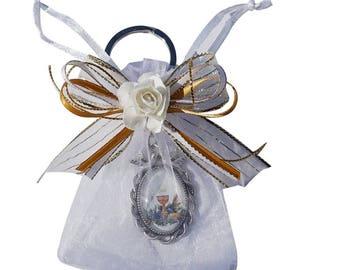 12 Pcs handmade First communion keychain with Organza Favor Bags for Boy and Girl - Recuerdos para Primera Comunion - JK113FI