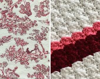 Toile-Blanket-Burgundy-Pink-White-Minky-Baby Blanket-Burp Cloths-Layette Set
