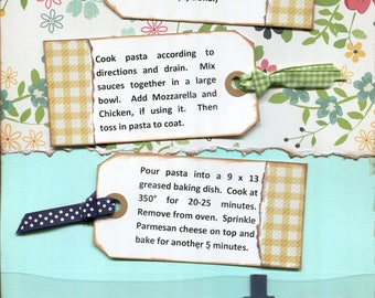 Two-Timin' Pasta, 1 Page 8 1/2 x 11 Recipe Scrapbook Layout, Premade Scrapbook Recipe, Ready to Assemble Recipe Layout