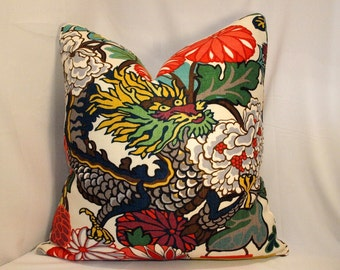 One or Both Sides - ONE High End Schumacher Chiang Mai Dragon Alabaster Pillow Cover with Self Cording