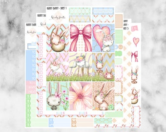 W115 Hunny Bunny ECLP VERTICAL Weekly Kit, Planner Stickers, Erin Condren, Spring Sticker Kit, Easter Kit, Easter Stickers, Bunny, Rabbits