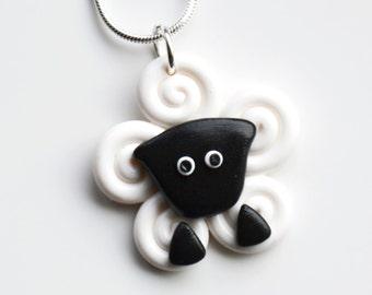 Miniatur Schafe Halskette, Fimo, Polymer Clay