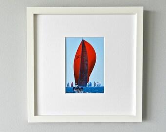 Red Sailboat Photograph - Sailboat Photography - Ocean Art Print - Nautical Nursery Decor - West Elm Gallery Frame - Framed Art - Red Photo