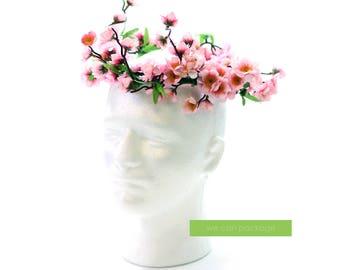 PINK Cherry Blossom Flower Crown | Japanese Wedding Photo Prop
