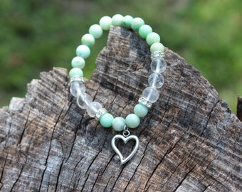 Amazonite & Clear Quartz Heart Bracelet