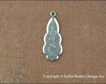 Antiqued Sterling Silver Plated Victorian Earring or Pendant Jewelry Drop (item 2810 AS) - 6 Pieces