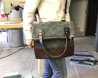 Handmade Waxed Canvas Fold Over Tote Bag /  Waxed Canvas Fold Over Weekender Bag / Waxed Canvas Fold Over Travel Bag / Zipper Tote Bag