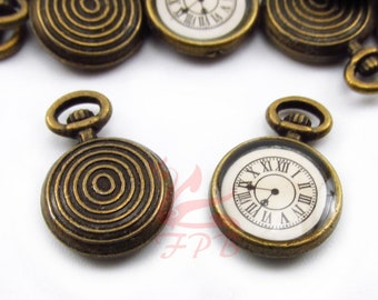 2 Clock Charms 14mm Wholesale Antiqued Bronze Pocket Watch Pendants BC0059215
