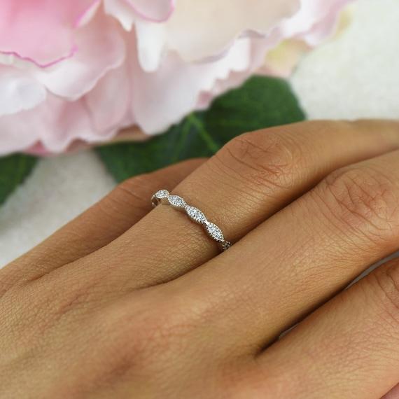 Art Deco Wedding Band Delicate Engagement Ring Half Eternity