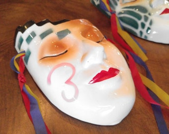 Masquerade Mask, Theater Theater Mask, 80s Home Decor, Drama, Drama Mask, Home Decor, Theatre Decor, Retro Decor, 80s, Ceramic Mask, Mask