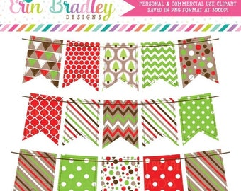 80% OFF SALE Christmas Bunting Clipart Instant Download Holiday Graphics Red Green & Brown Banner Flags Personal and Commercial Use